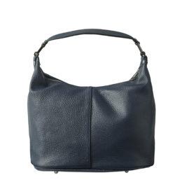 Klassisk håndtaske i blå læder