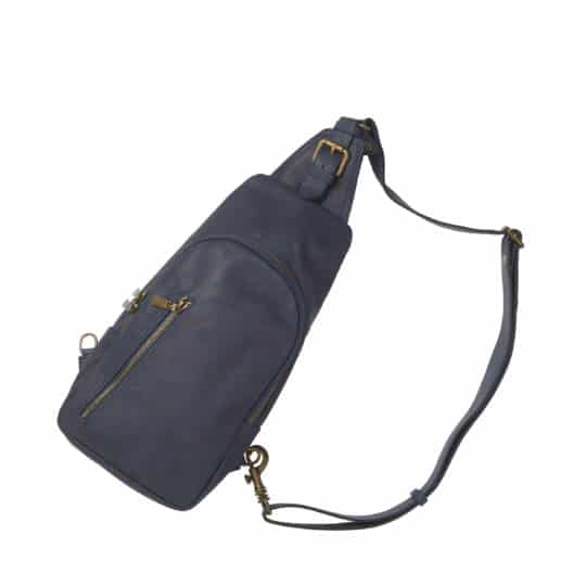 stor bæltetaske i blå læder